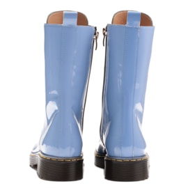 Marco Shoes High ankle boots, boots tied on a translucent sole blue 5