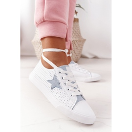 Women's Leather Sneakers With a Star Big Star DD274692 White-Blue 6