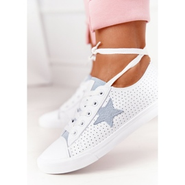 Women's Leather Sneakers With a Star Big Star DD274692 White-Blue 8