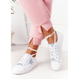 Women's Leather Sneakers With a Star Big Star DD274692 White-Blue 1
