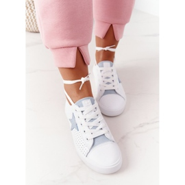 Women's Leather Sneakers With a Star Big Star DD274692 White-Blue 4