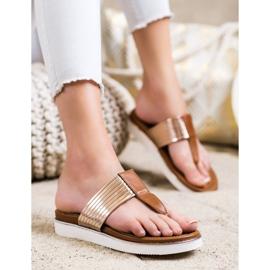 Cm Paris Comfortable Eco Leather Flip-Flops brown golden 3