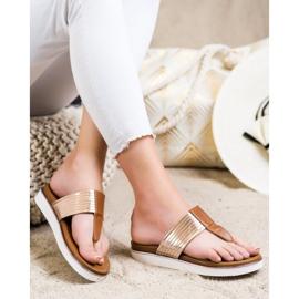 Cm Paris Comfortable Eco Leather Flip-Flops brown golden 1
