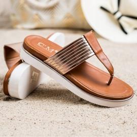 Cm Paris Comfortable Eco Leather Flip-Flops brown golden 2