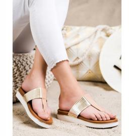 Cm Paris Comfortable Eco Leather Flip-Flops beige golden 2