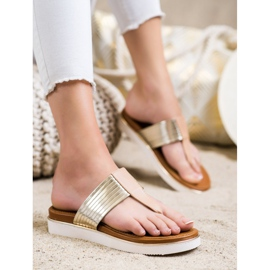 Cm Paris Comfortable Eco Leather Flip-Flops beige golden 3