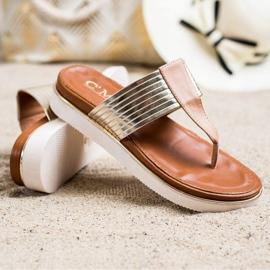 Cm Paris Comfortable Eco Leather Flip-Flops beige golden 1