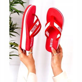 Women's flip-flops on the wedge Big Star HH274A095 Red white 1