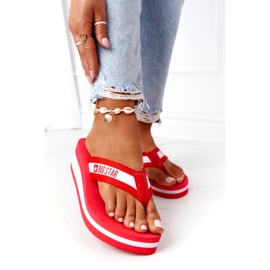 Women's flip-flops on the wedge Big Star HH274A095 Red white 2