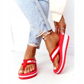 Women's flip-flops on the wedge Big Star HH274A095 Red white 3