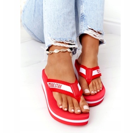 Women's flip-flops on the wedge Big Star HH274A095 Red white 4