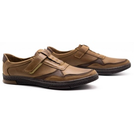 Polbut Men's casual leather shoes 2102 brown 2