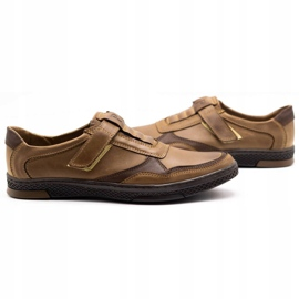 Polbut Men's casual leather shoes 2102 brown 5