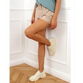 Beige socks LA172P Beige sports shoes 2