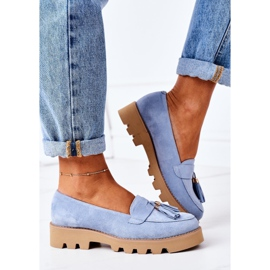 Suede loafers Lewski Shoes 3053 Blue 3