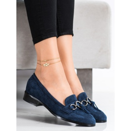 VINCEZA flat heels loafers navy blue blue 2