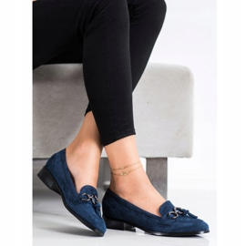 VINCEZA flat heels loafers navy blue blue 3