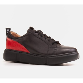 Marco Shoes Black leather sneakers with an insert on the heel 1