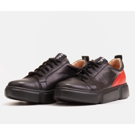 Marco Shoes Black leather sneakers with an insert on the heel 4