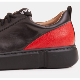 Marco Shoes Black leather sneakers with an insert on the heel 6