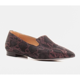 Marco Shoes Lordsy ballerinas made of suede leather in a snakeskin pattern black 1