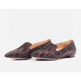 Marco Shoes Lordsy ballerinas made of suede leather in a snakeskin pattern black 6
