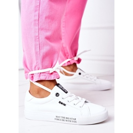 Women's leather sneakers with the inscription Big Star EE274316 White 5