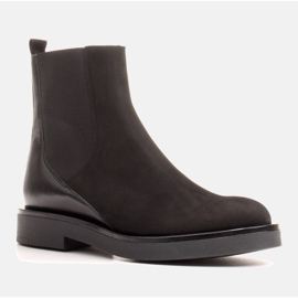 Marco Shoes Flat leather ankle boots with insulation with a wide rubber in the upper black 1