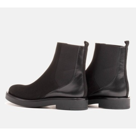 Marco Shoes Flat leather ankle boots with insulation with a wide rubber in the upper black 3