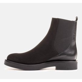 Marco Shoes Flat leather ankle boots with insulation with a wide rubber in the upper black 4