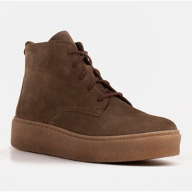 Marco Shoes Low lace-up boots made of soft leather brown green 1