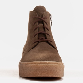 Marco Shoes Low lace-up boots made of soft leather brown green 2