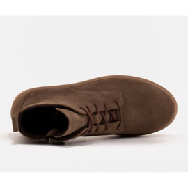 Marco Shoes Low lace-up boots made of soft leather brown green 6