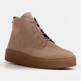 Marco Shoes Low lace-up boots made of soft leather beige 1