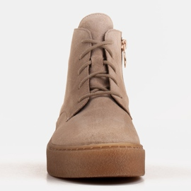 Marco Shoes Low lace-up boots made of soft leather beige 2