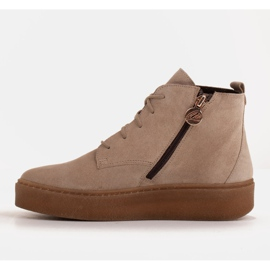 Marco Shoes Low lace-up boots made of soft leather beige 3
