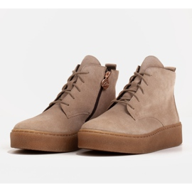 Marco Shoes Low lace-up boots made of soft leather beige 4
