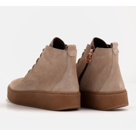 Marco Shoes Low lace-up boots made of soft leather beige 7