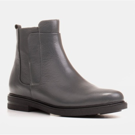 Marco Shoes Light boots insulated with a flat bottom made of natural leather grey 1