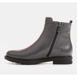 Marco Shoes Light boots insulated with a flat bottom made of natural leather grey 2