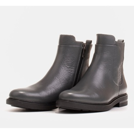 Marco Shoes Light boots insulated with a flat bottom made of natural leather grey 3