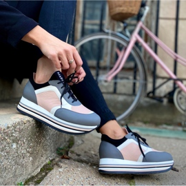 Marco Shoes Light sneakers on a thick sole made of natural leather grey 8
