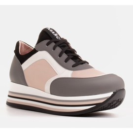 Marco Shoes Light sneakers on a thick sole made of natural leather grey 1
