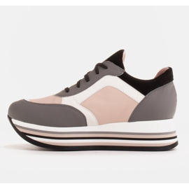 Marco Shoes Light sneakers on a thick sole made of natural leather grey 3
