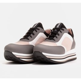 Marco Shoes Light sneakers on a thick sole made of natural leather grey 4
