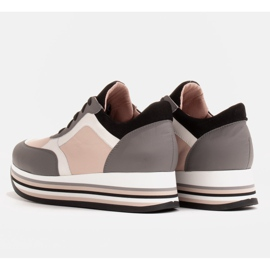 Marco Shoes Light sneakers on a thick sole made of natural leather grey 5