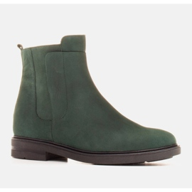 Marco Shoes Light boots insulated with a flat bottom made of natural leather green 1