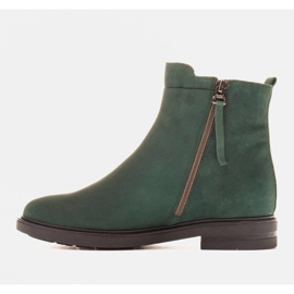 Marco Shoes Light boots insulated with a flat bottom made of natural leather green 2