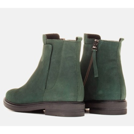 Marco Shoes Light boots insulated with a flat bottom made of natural leather green 4