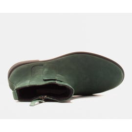 Marco Shoes Light boots insulated with a flat bottom made of natural leather green 5